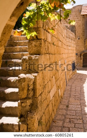 Jaffa ,an Alley in the old city,  is part of Tel Aviv city in Israel - stock photo