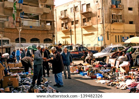 JAFFA,ISR - MAR 09:The Flea Market, Shuk Hapishpeshim in Jaffa on Mar 09 2008.It's an open air market throughout the year,a magnet for visitors, tourists and lovers of bargains and second hand items - stock photo