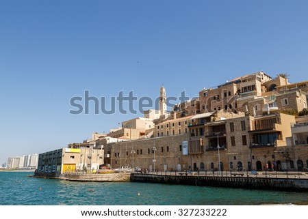 JAFFA, ISRAEL SEPTEMBER 17, 2015: View from sea port to Jaffa in Israel, on the Mediterranean Sea - stock photo