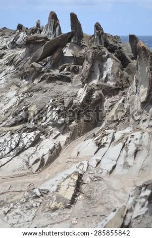 Jagged Rock Shoreline up close  - stock photo