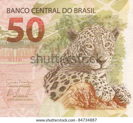 jaguar (panthera onca) artwork on 50 reais banknote from brazil
