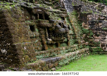 Jaguar Temple in Lamanai Belize early november with some rain - stock photo