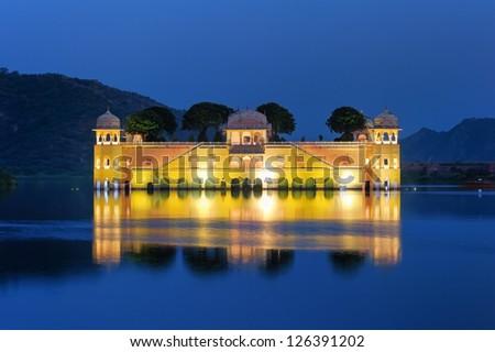 Jai Mahal Lake Palace. Jaipur, India. - stock photo