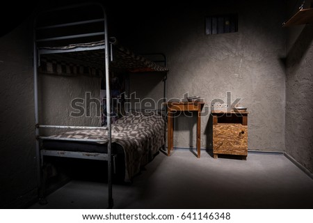 Jail Cell Iron Bunk Bed Wooden Stock Photo Royalty Free 641146348