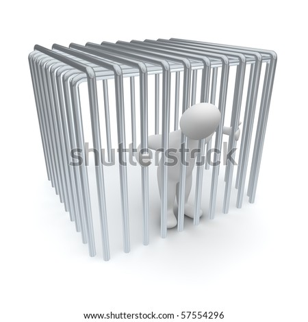 Jailed man in cage. 3d rendered illustration. - stock photo