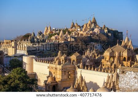 Jain temples on top of Shatrunjaya hill. Palitana (Bhavnagar district), Gujarat, India - stock photo