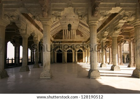 Jaipur fort, central hall, Indian architecture - stock photo