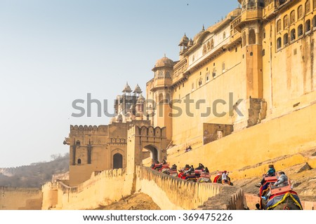 JAIPUR, INDIA - JAN 19, 2016: Walls of Amber Palace, a town near Jaipur, Rajasthan state, India. UNESCO World Heritage Site as part of the group Hill Forts of Rajasthan.