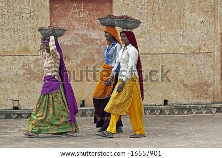 JAIPUR, INDIA - JULY 30: Unknown female laborers July 30 2008 at Amber Fort, Jaipur, Rajasthan, India - stock photo