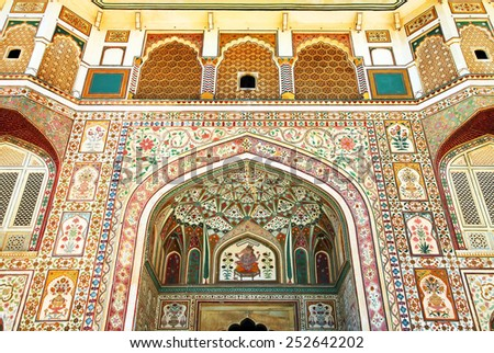 JAIPUR, INDIA - MARCH 08: Interior mughal architectural details of Amber Fort, March 08, 2012, - stock photo