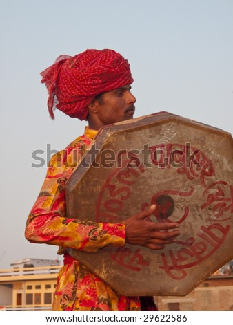 JAIPUR, INDIA - MARCH 10: Musician in traditional dress for the annual elephant festival on March 10, 2009 in Jaipur, India