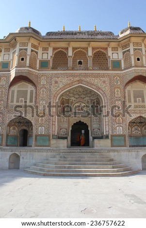 JAIPUR, INDIA - NOV 30: Facade of the Ganesh Pol building inside the Amber Fort, the main touristic attraction in Jaipur, on November 30 2012.