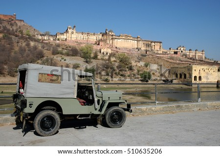 JAIPUR, RAJASTHAN, INDIA - MARCH 03, 2006: Off-road vehicle in the driveway to Amber Fort