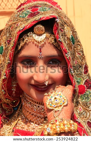 JAISALMER, INDIA - FEBRUARY 16: Unidentified girl takes part in Desert Festival on February 16, 2011 in Jaisalmer, India. Main purpose of this Festival is to display colorful culture of Rajasthan