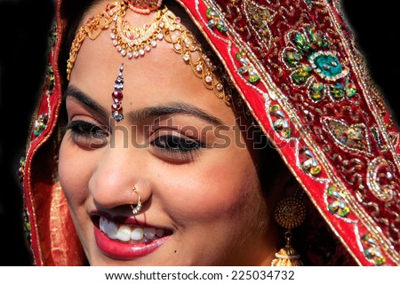 JAISALMER, INDIA-FEBRUARY 16: Unidentified woman (portrait) takes part in Desert Festival on February 16, 2011 in Jaisalmer, India. Main purpose of Festival is to display colorful culture of Rajasthan - stock photo