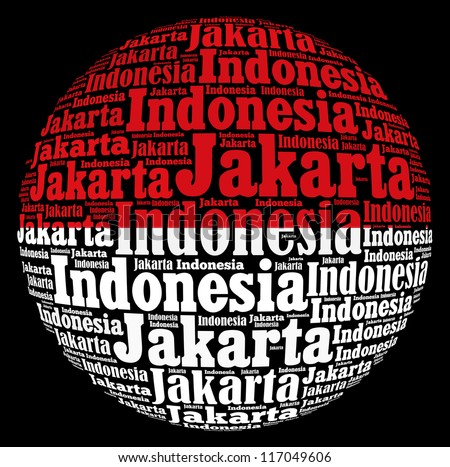 Jakarta capital city of Indonesia info-text graphics and arrangement concept on black background (word cloud) - stock photo