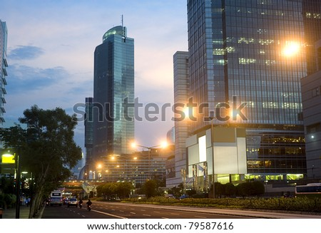 Jakarta Central at beautiful sunset. Indonesia - stock photo