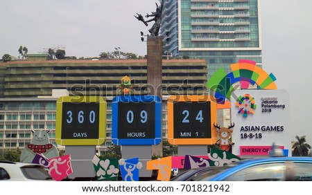 JAKARTA, INDONESIA - August 23, 2017: Official countdown clock 2018 Asian Games at Bundaran Hotel Indonesia or Hotel Indonesia traffic circle (roundabout)
