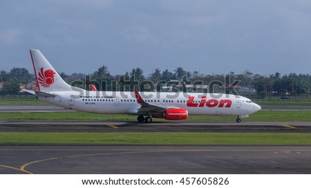 JAKARTA, INDONESIA - JULY 25, 2016: Lion Air plane on a runway of Soekarno-Hatta International Airport in Jakarta, Indonesia. Lion Air is the second largest low-cost airline in the Southeast Asia.