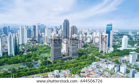 JAKARTA, Indonesia. May 12, 2017:  skyscrapers with blue sky in the Central Jakarta