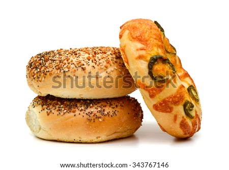 jalapeno cheese and sesame bagels on white background  - stock photo