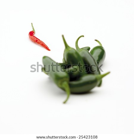 Jalapenos and one red chili isolated on white background - stock photo