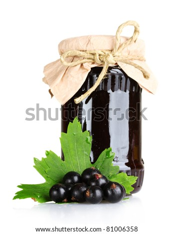 jam and  black currant  isolated on white - stock photo