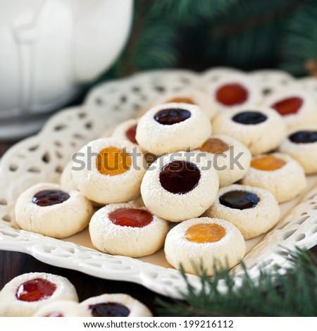 Jam drop cookies on plate, selective focus - stock photo