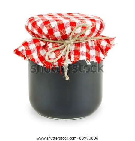Jam in a jar, isolated over white background. - stock photo