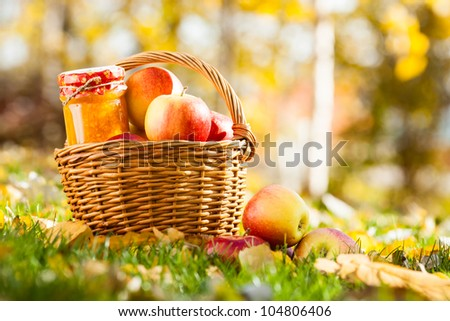 Jam in jar and basket full of fresh red apples on a grass. Autumn harvest concept - stock photo