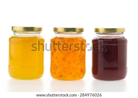 Jam jar isolated on white background - stock photo