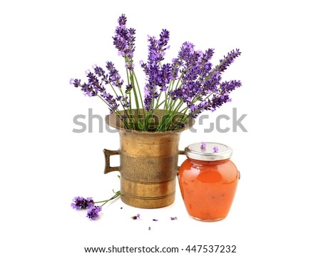 Jam jar. Jam jar with apricot jam. Apricot jam with lavender in jar. Healthy jam. Jam jar isolated on white background. Jam jar with apricot jam and lavender flowers. Jam jar and lavender in mortar. - stock photo