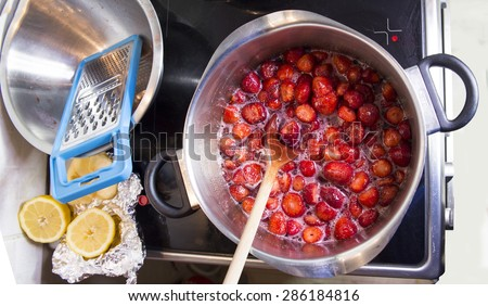 jam making - kitchen - stock photo
