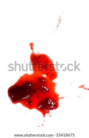 jam stain on white background
