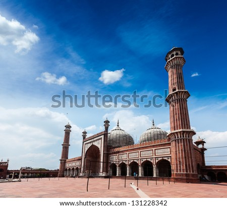 Jama Masjid - largest muslim mosque in India. Delhi, India - stock photo