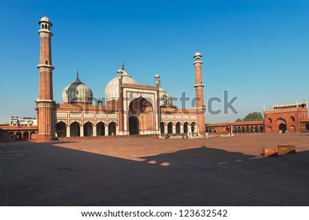 Jama Masjid Mosque, Old Delhi, India under blue sky - stock photo