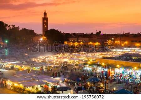Jamaa el Fna also Jemaa el Fnaa or Djema el Fna or Djemaa el Fnaa is square and market place in Marrakesh's medina quarter. Marrakesh in Morocco, north Africa. UNESCO Heritage of Humanity. - stock photo