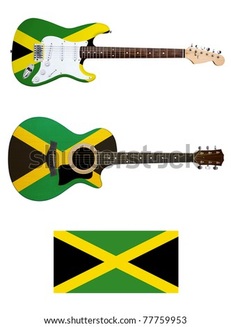 jamaica flag electric and acoustic guitars with clipping path - stock photo