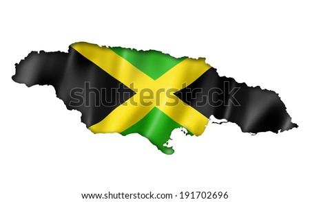 Jamaica flag map, three dimensional render, isolated on white - stock photo