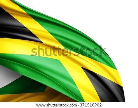 Jamaica  flag of silk with copyspace for your text or images and white background - stock photo