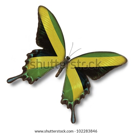 Jamaica flag on butterfly isolated on white - stock photo
