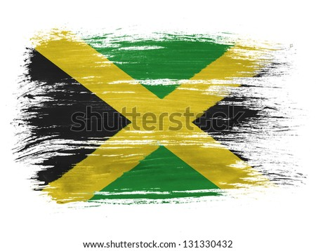 Jamaica flag  on white background - stock photo