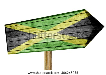 Jamaica flag wooden sign isolated on white - stock photo