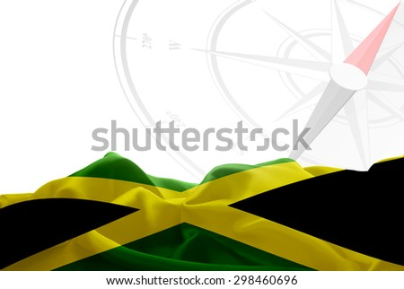 Jamaica High Resolution flag and Navigation compass in background - stock photo