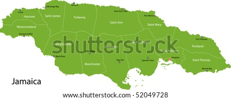 Jamaica map with parishes borders and the capital cities - stock photo