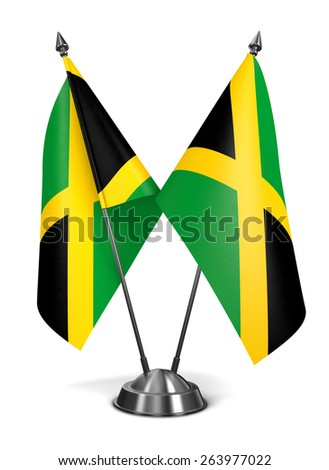 Jamaica - Miniature Flags Isolated on White Background. - stock photo