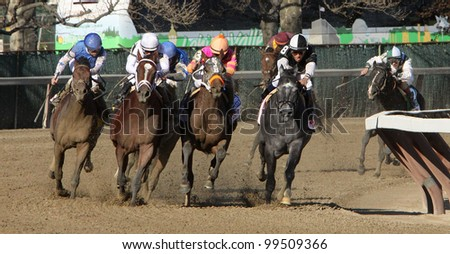 JAMAICA, NY - APRIL 7: Gemologist and Javier Castellano (white cap) take the far turn on the way to winning The Wood Memorial at Aqueduct Race Track on April 7, 2012 in Jamaica, NY. - stock photo