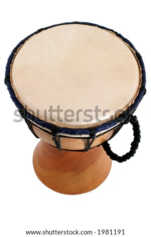 Jambe Drum - top view - Balinese gamelan making mahogany wood drum - stock photo