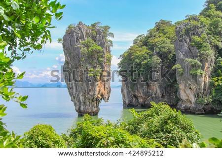 James Bond Island in Phang Nga Bay, Thailand, famous landmark - stock photo