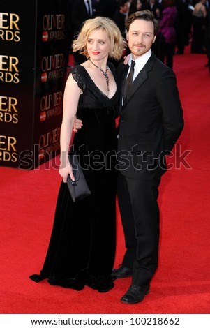 James McAvoy and Anne Marie Duff arrives for the Olivier Awards 2012 at the Royal Opera House, Covent Garden, London. 15/04/2012 Picture by: Steve Vas / Featureflash